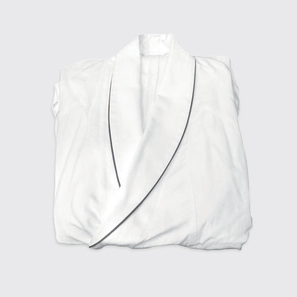 White bathrobe designed by Brigitte Tanaka