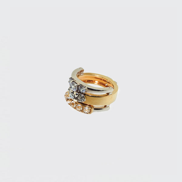 Ring three interchangeable rings silver, gold and zircons by Brigitte Tanaka