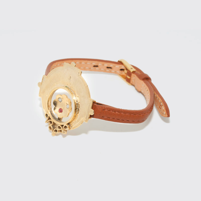 Brigitte Tanaka brown leather and gold jewelery watch strap type bracelet