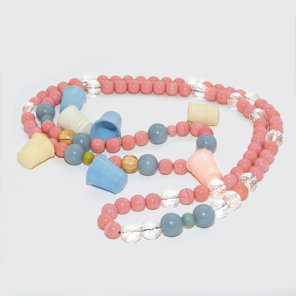 Vintage pink and blue pearl necklace with thimble charms Brigitte Tanaka