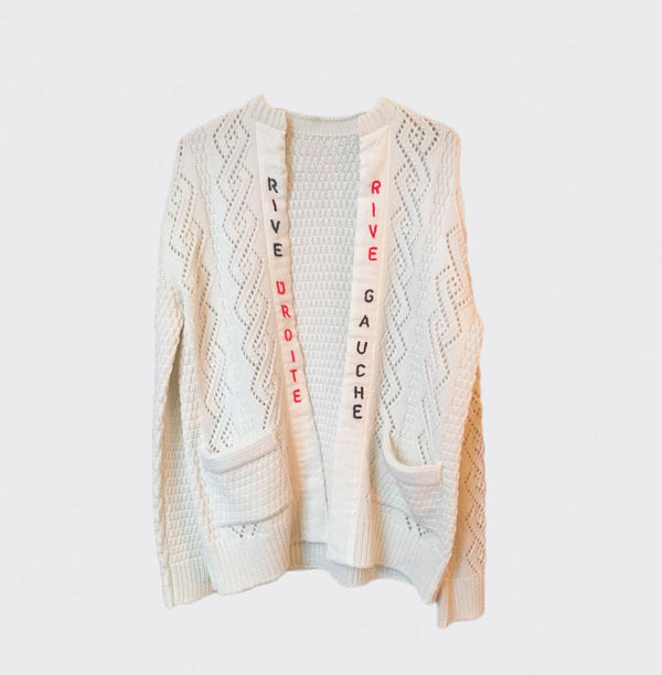 "White ""Right Bank"" sweater (Made in Japan)"