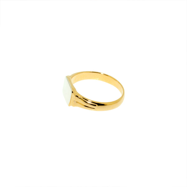 Brigitte Tanaka customizable rectangular gold and silver signet ring