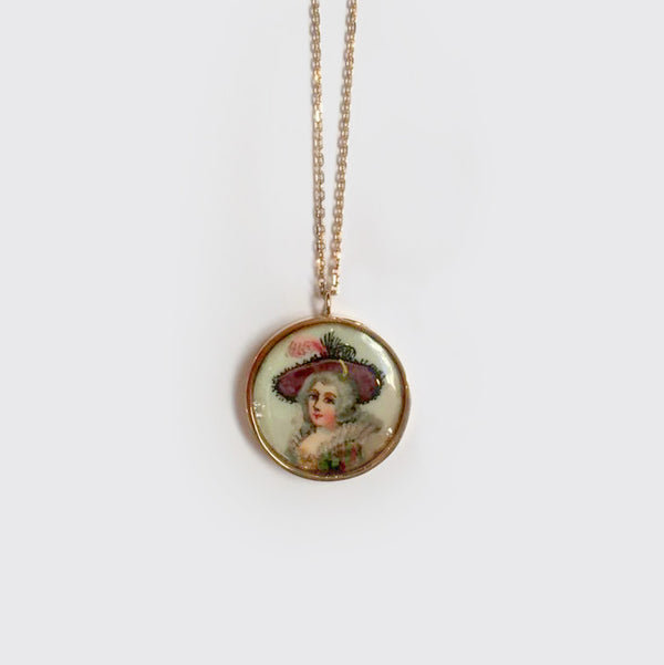 Miniature portrait necklace OR 18K