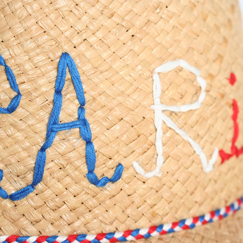 Grandma's Paris Gang embroidered straw hat by Brigitte Tanaka