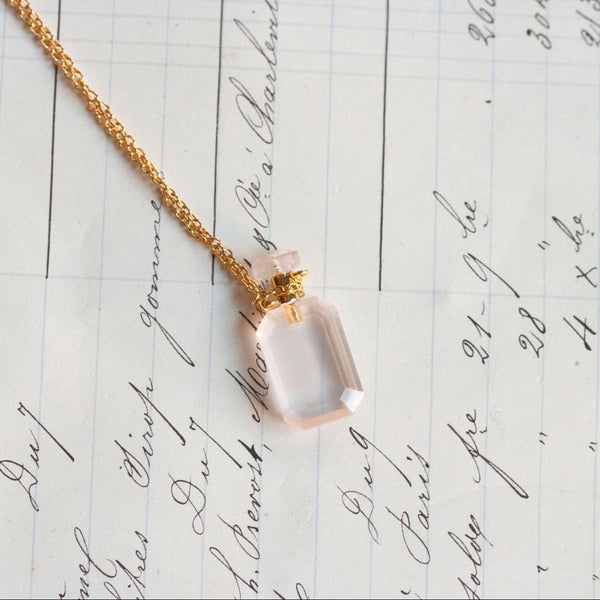 Collier parfume rose quartz Missbibi