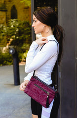 Handmade Nylon Netting Nearby Crossbody Bag in Bordeaux