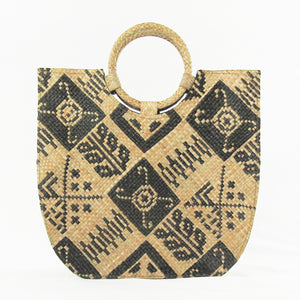 Quinn Natural Straw Bag with Tribal Pattern