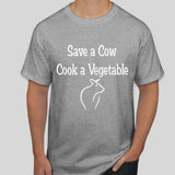 Vegan T shirt | Cow t shirt | 100% cotton light grey