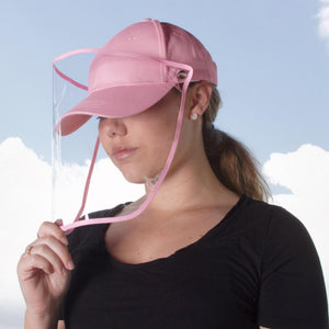 Pink Baseball Cap with removable plastic face shield