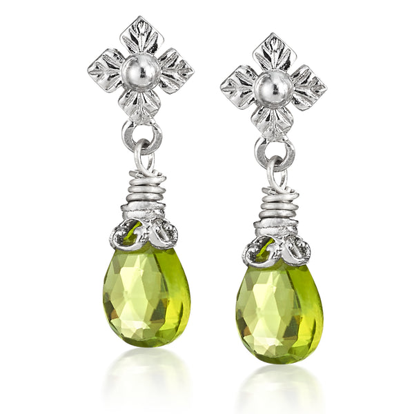 AT 438C-PD/R PERIDOT DROP EARRINGS