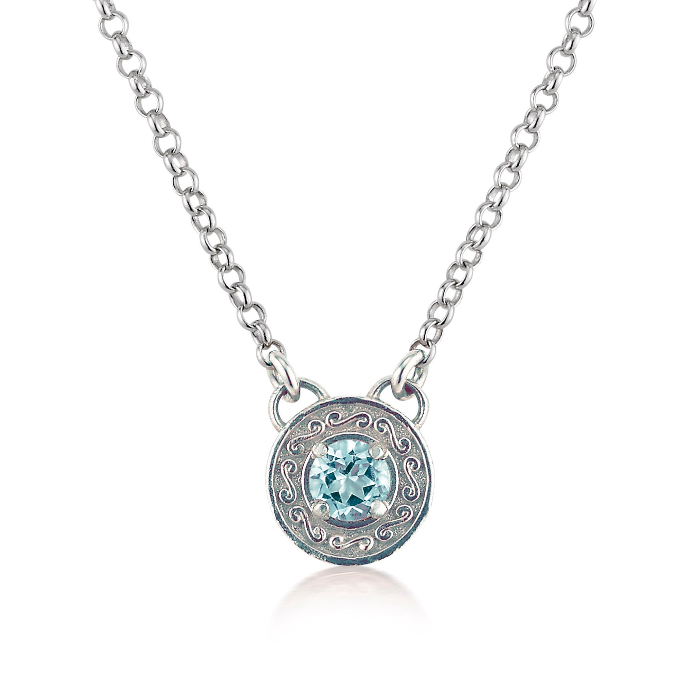 AT 524A18 BLUE TOPAZ FILIGREE NECKLACE