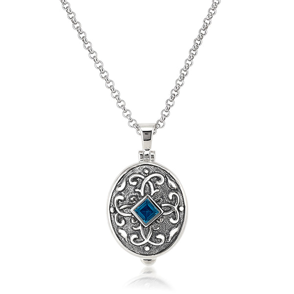 AT 6400A-LB/R LONDON BLUE TOPAZ LOCKET