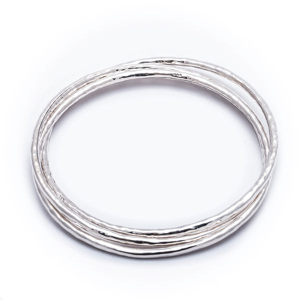 TMBB 26 THREE INTERLOCKED HAMMERED BANGLES