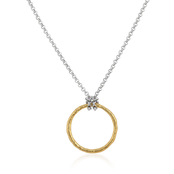 AT 811AT TWO TONE CIRCLE NECKLACE
