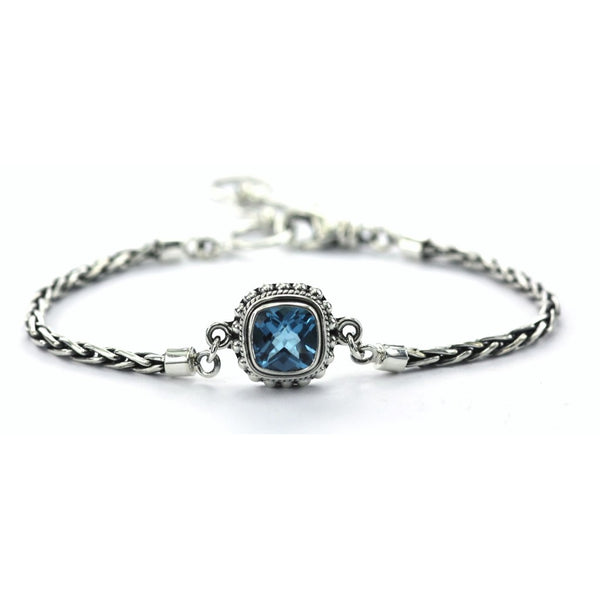 ID B216BT BLUE TOPAZ BRAIDED BRACELET
