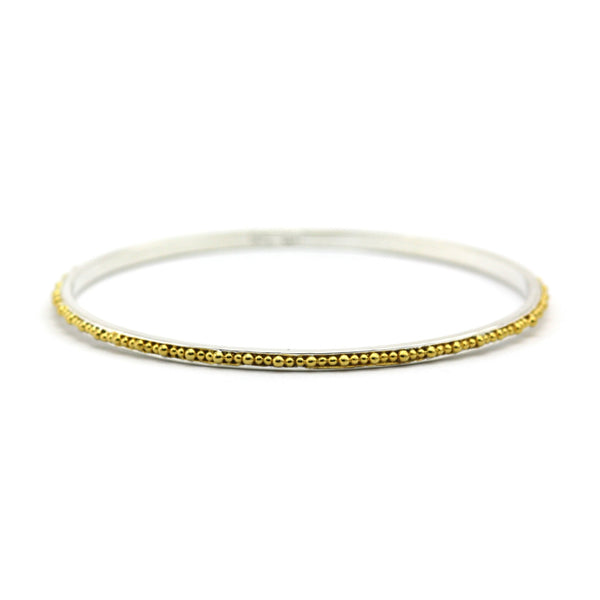 ID B299G THIN BEADED BANGLE BRACELET W 18K GOLD