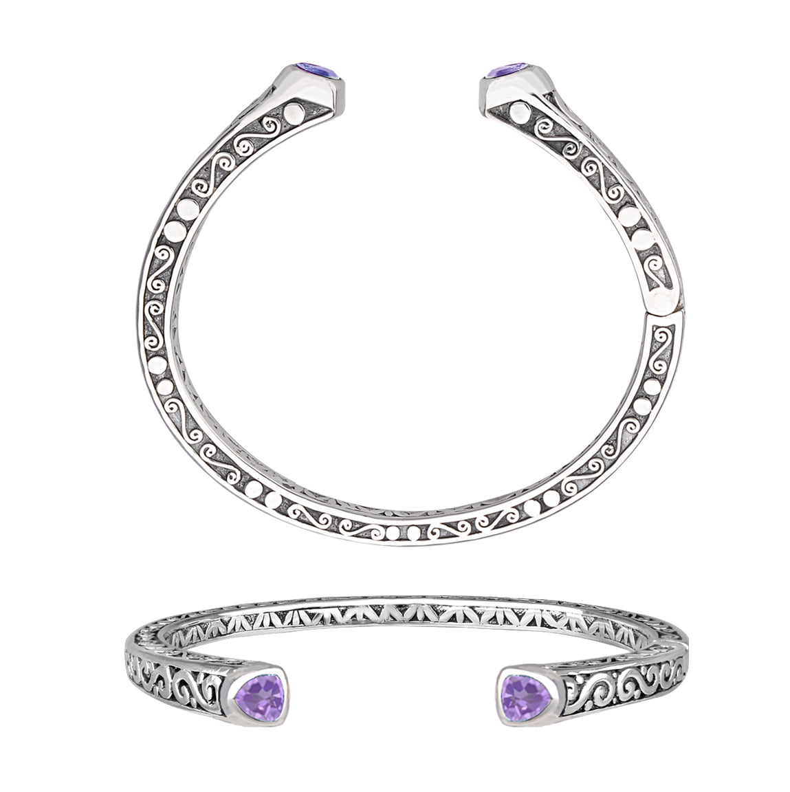 JD B63611 AMETHYST FILIGREE HINGED BRACELET