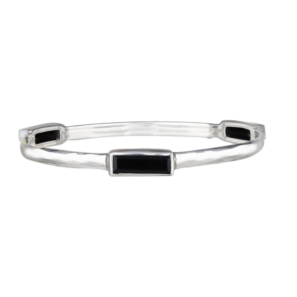JD B64105ONX HAMMERED ONYX BANGLE BRACELET