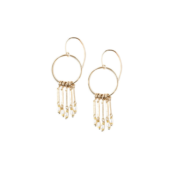 KW CAMILLA GOLD PEARL FRINGE EARRINGS