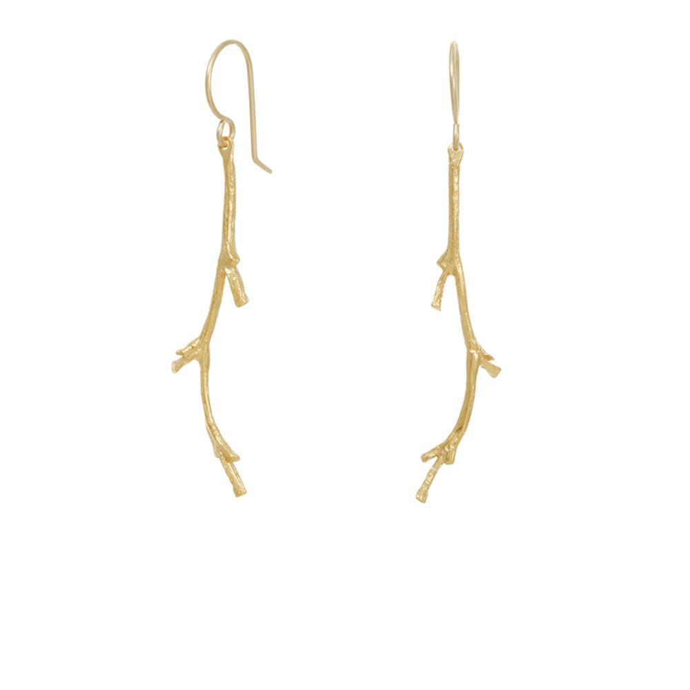 CW E178V GOLD CORAL BRANCH EARRINGS