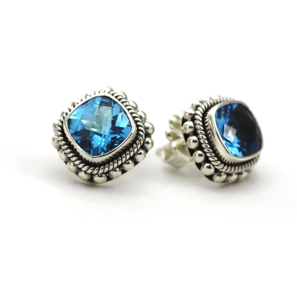 ID E200 BT BLUE TOPAZ POST EARRINGS