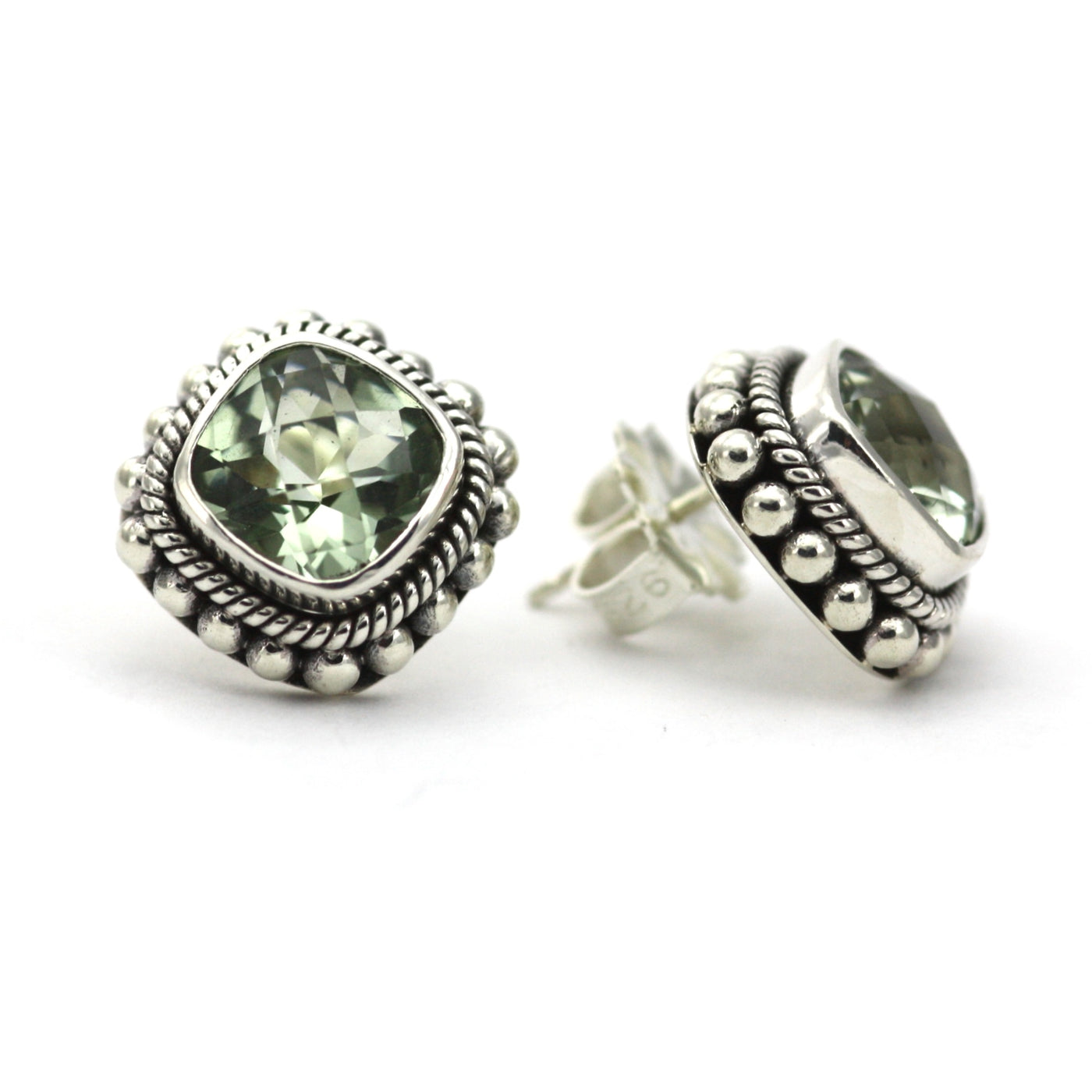 ID E200GA GREEN AMETHYST POST EARRINGS