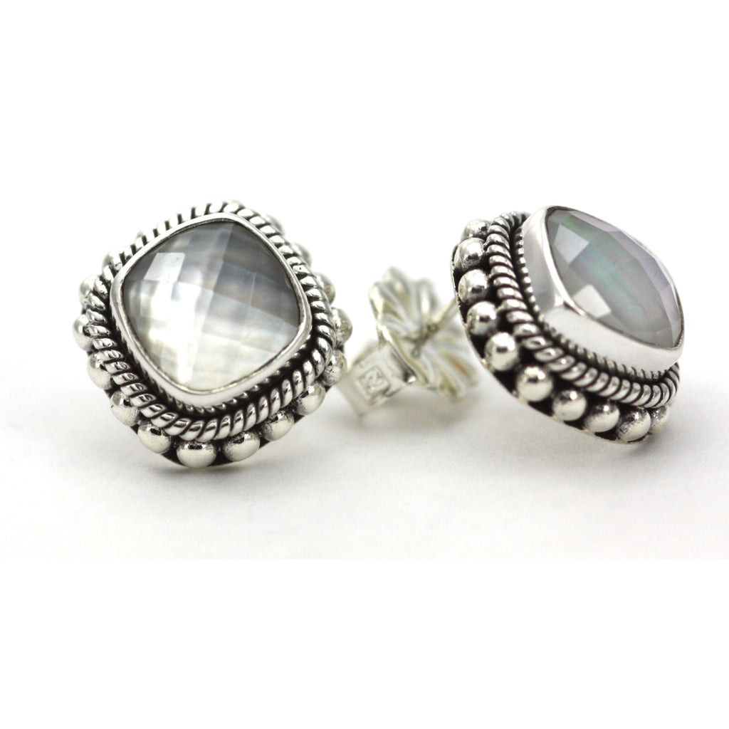 ID E200MPF FACETED MOTHER OF PEARL POST EARRINGS