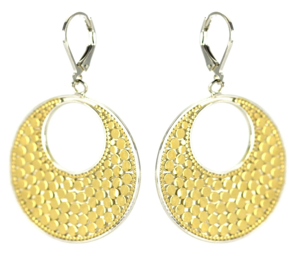 ID E022 TWO TONE OPEN DOTTED EARRINGS
