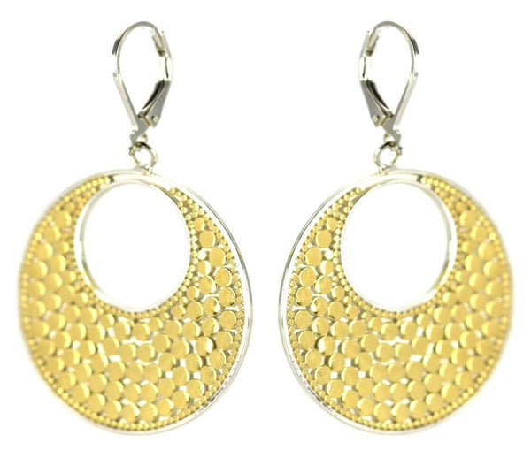 ID E234G TWO TONE OPEN DOTTED EARRINGS