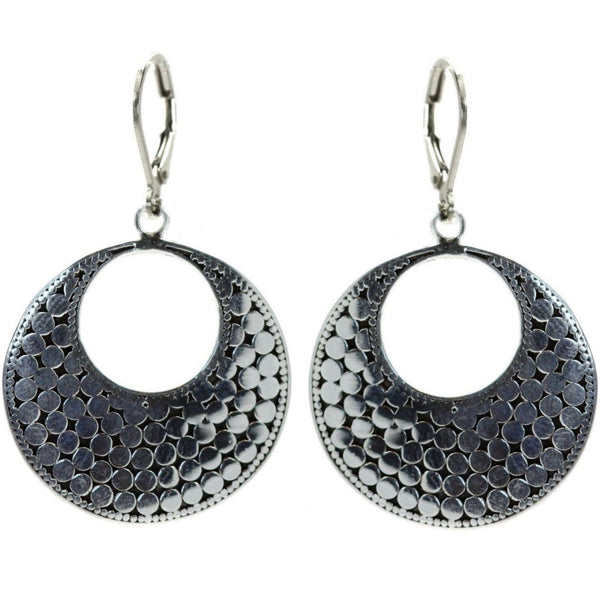 ID E234 DOTTED OPEN CIRCLE EARRINGS