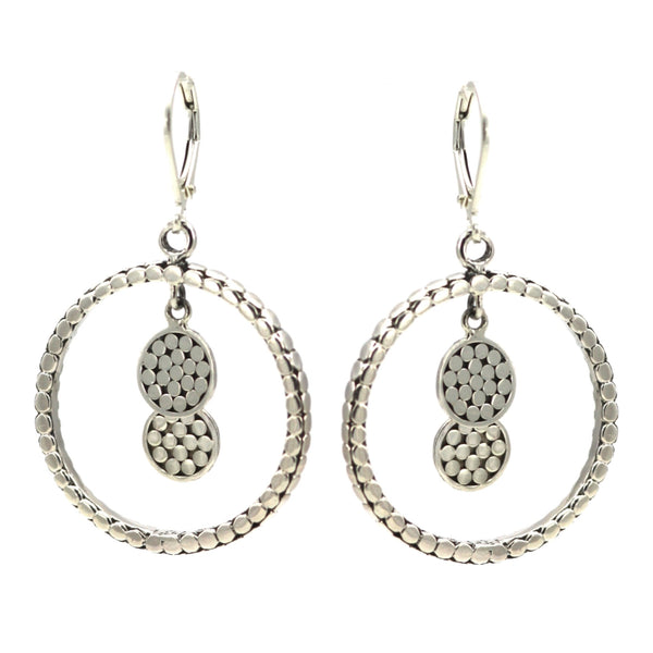 ID E315 OPEN CIRCLE DOTTED EARRINGS