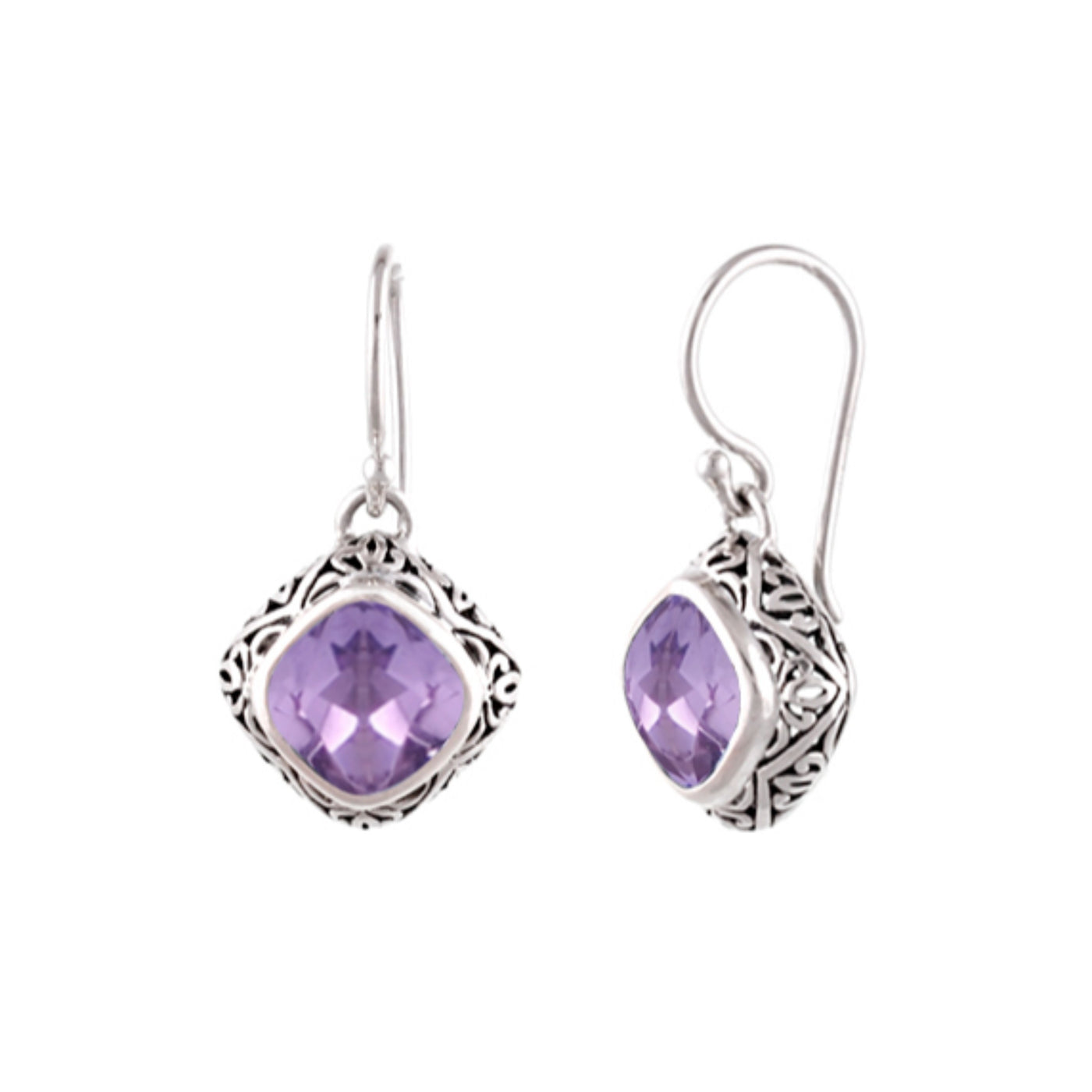 JD E55107AMY ORNATE AMETHYST DROP EARRINGS