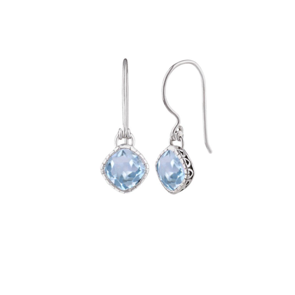 JD E59472BTP BLUE TOPAZ FILIGREE DIAMOND EARRINGS