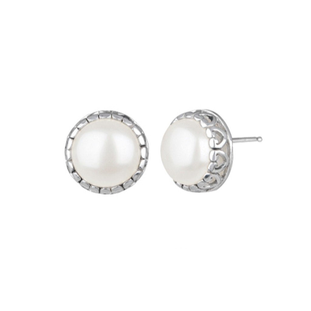 JD E62907 WHITE PEARL POST EARRINGS