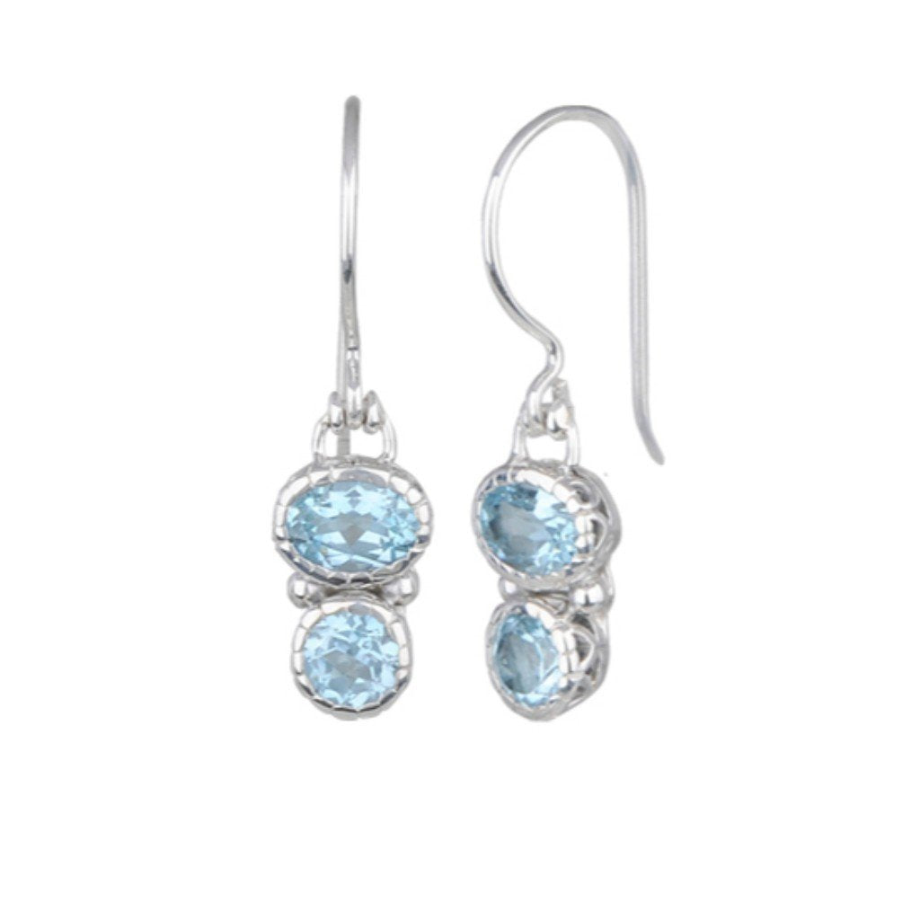 E62992 BLUE TOPAZ DOUBLE DROP EARRINGS