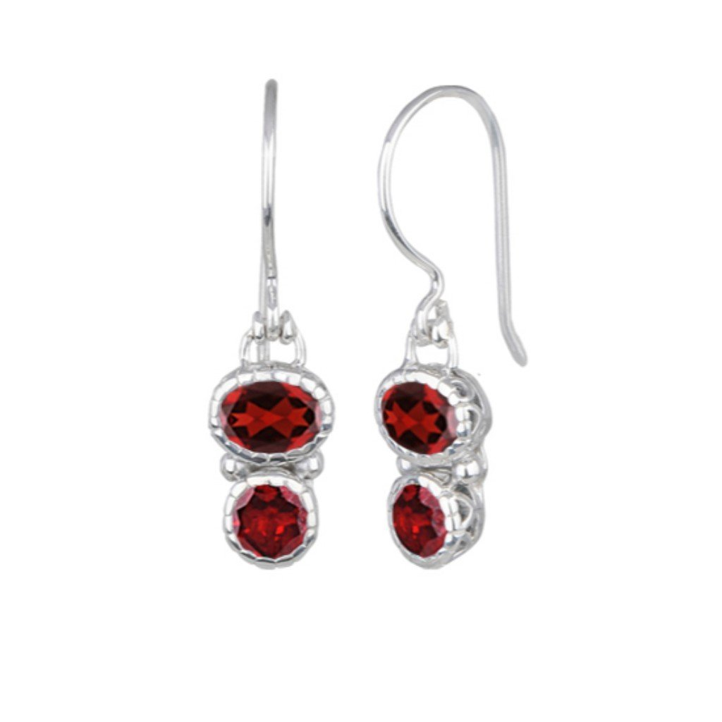 JD E62992GAR GARNET DOUBLE DROP EARRINGS