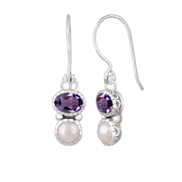 JD E63031AMY PEARL & AMETHYST EARRINGS