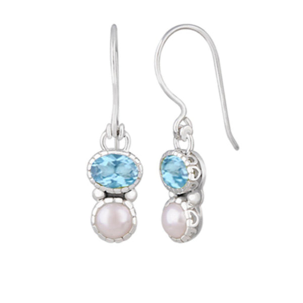 JD E63031 PEARL & BLUE TOPAZ EARRINGS