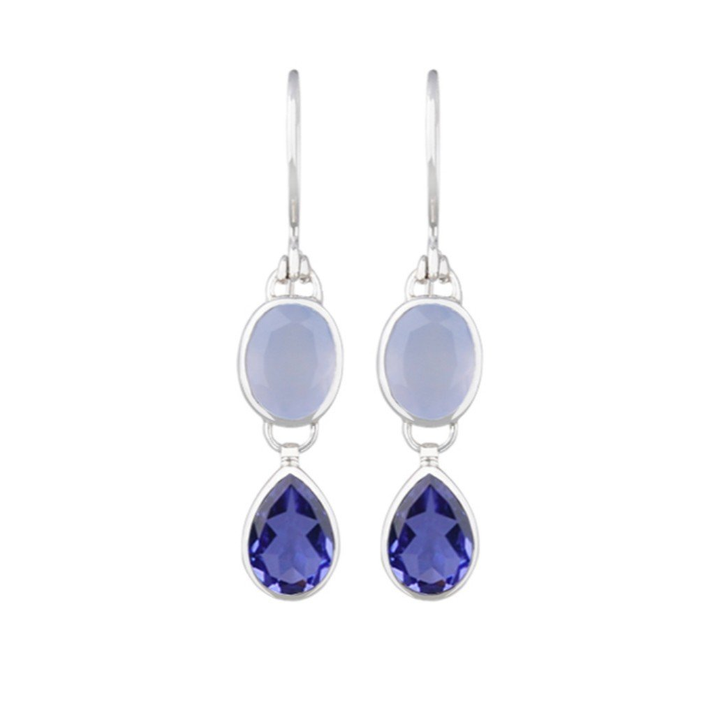 JD E63966 IOLITE QUARTZ AND CHALCEDONY EARRINGS