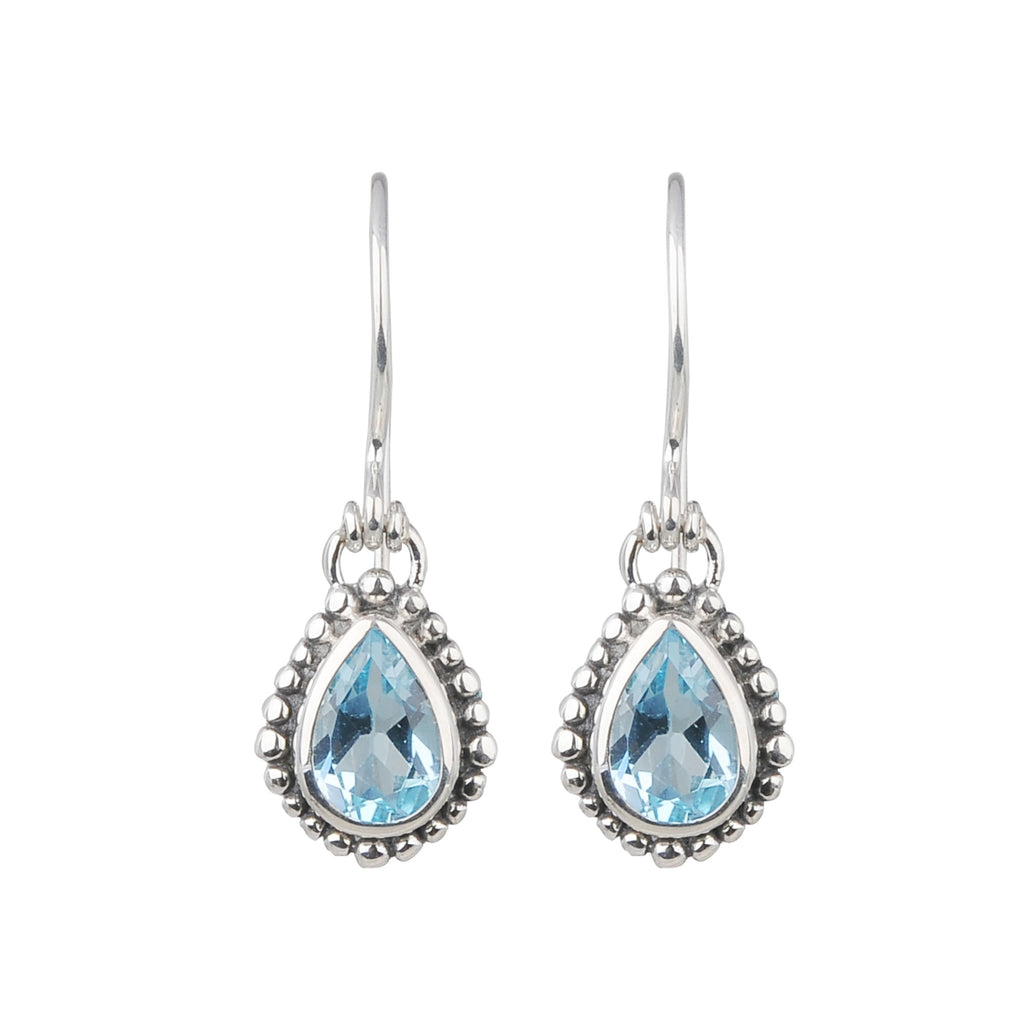 JD E64039BTP BLUE TOPAZ TEAR DROP EARRINGS