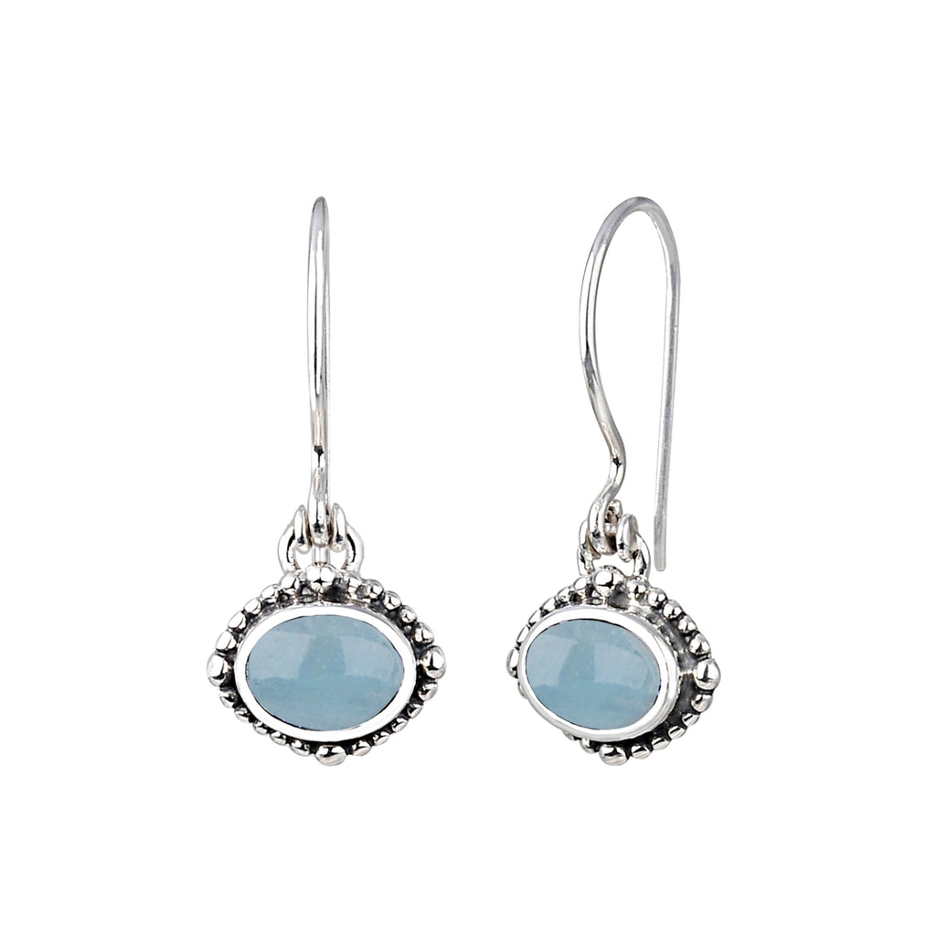 JD E64040AQMB AQUAMARINE OVAL EARRINGS