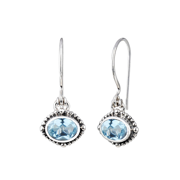 JD E64040BTP BLUE TOPAZ OVAL EARRINGS