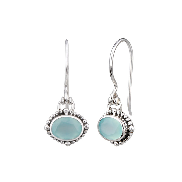 JD E64040 CHALCEDONY OVAL BEADED EARRINGS