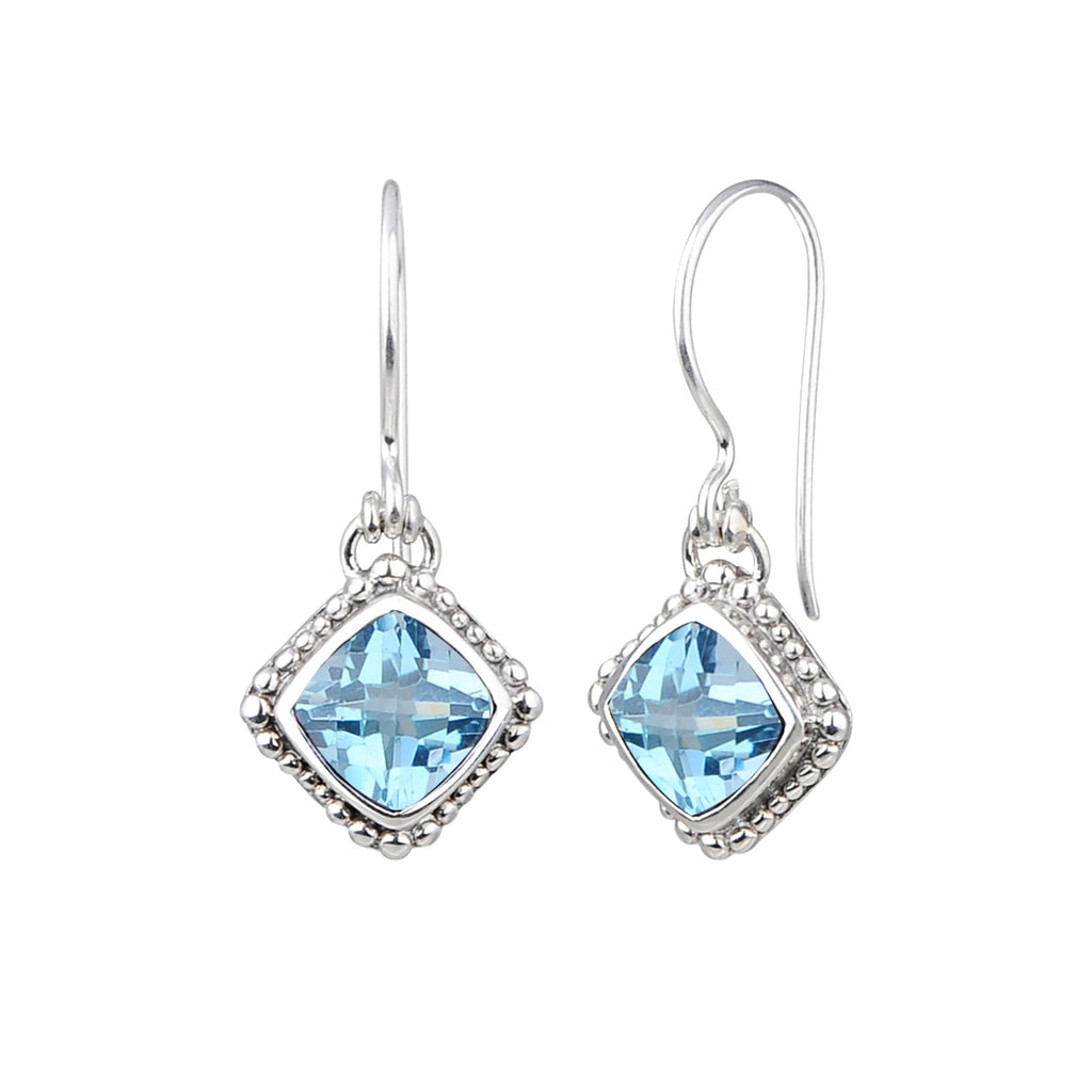 JD E64042BTP BLUE TOPAZ BEADED EARRINGS