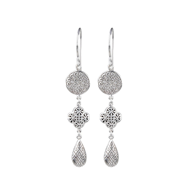 JD E64136 FILIGREE TRIPLE DROP EARRINGS