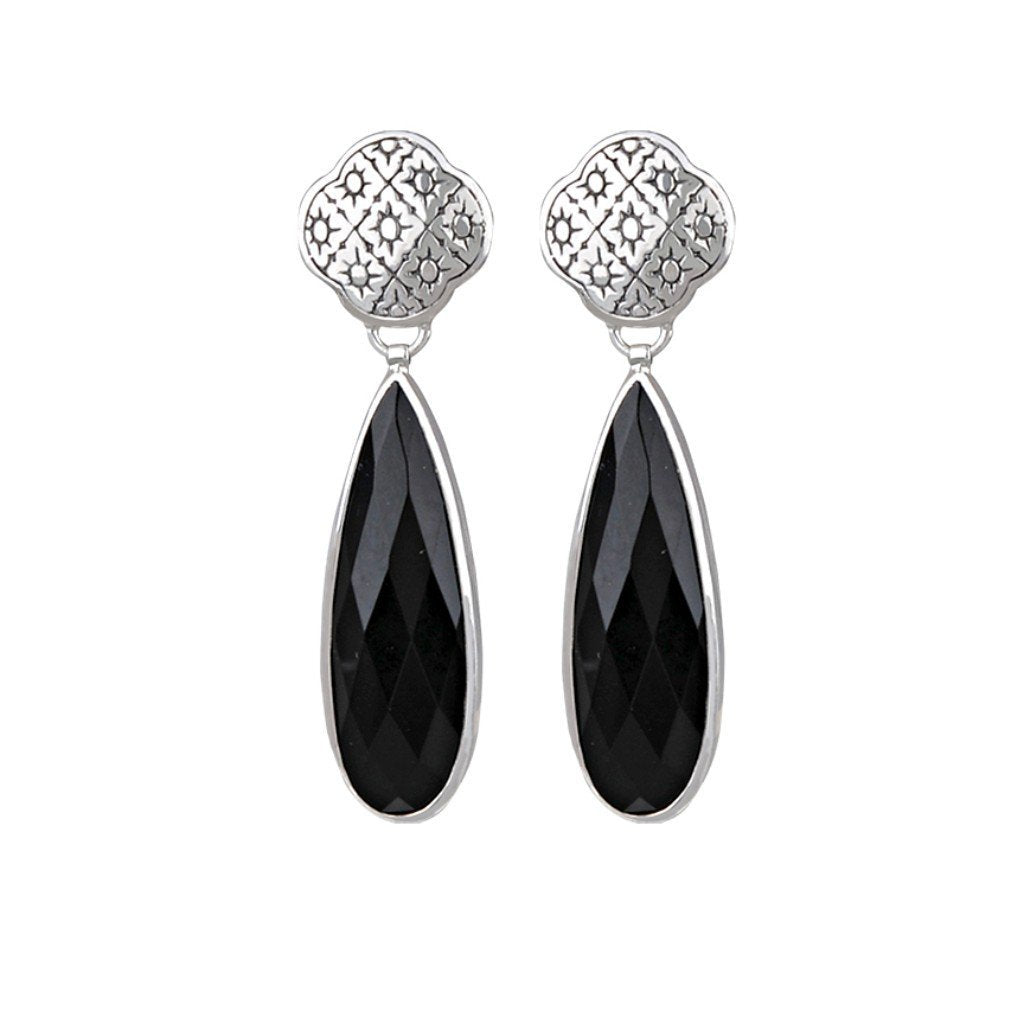 JD E64162  BLACK ONYX FILIGREE POST EARRINGS