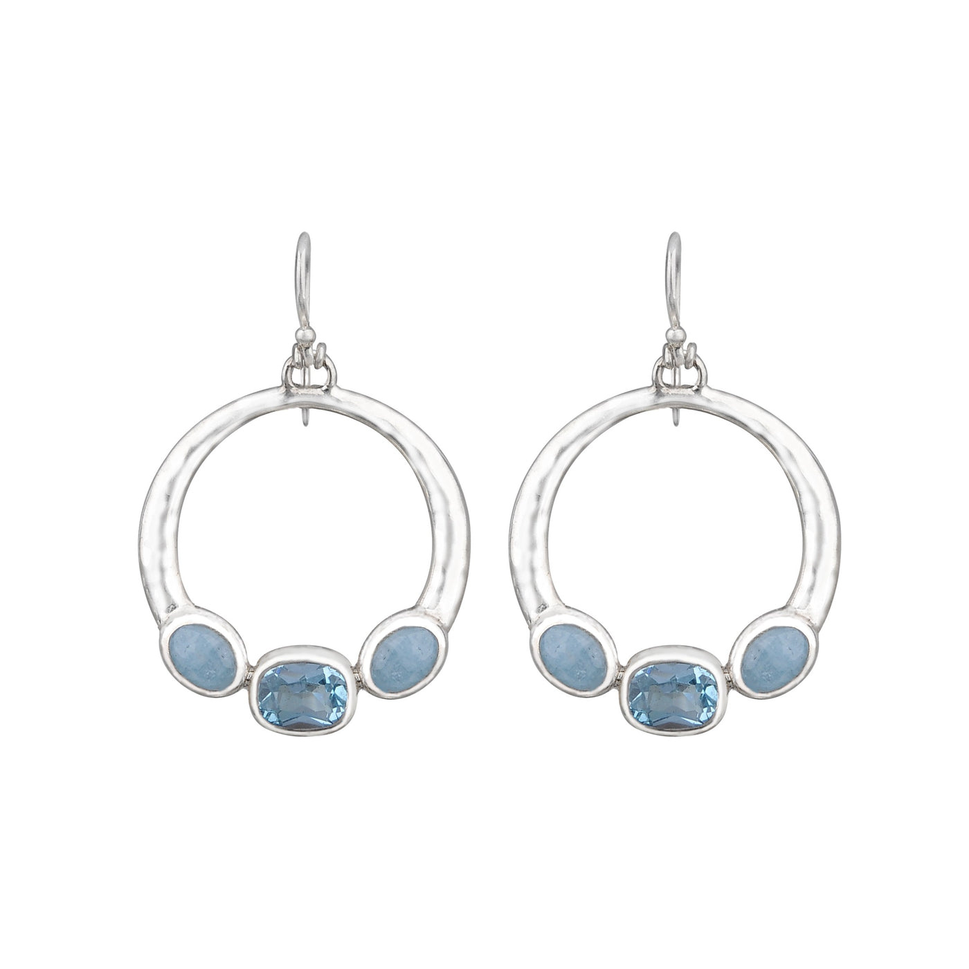 JD E64252 AQUAMARINE & BLUE TOPAZ CIRCLE EARRINGS