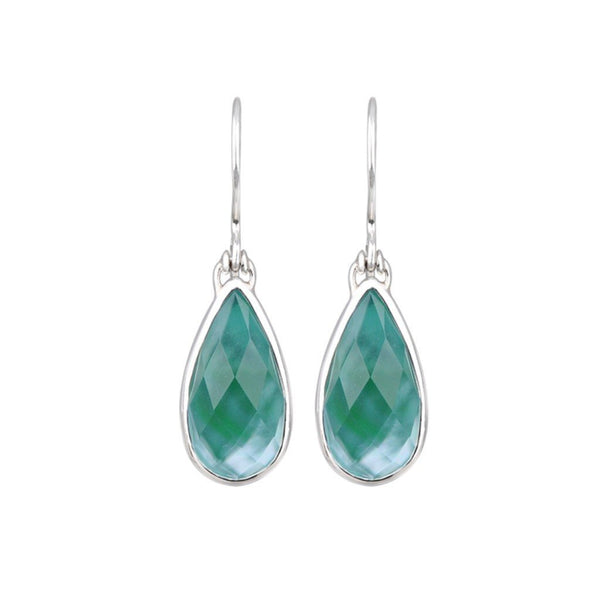 JD E64254OCGNP FACETED OCEAN GREEN PEARL EARRINGS