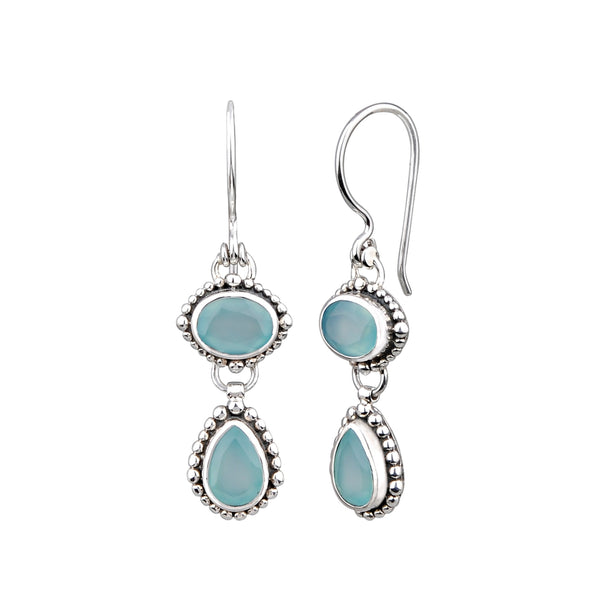JD E64344CAS CHALCEDONY DOUBLE DROP EARRINGS