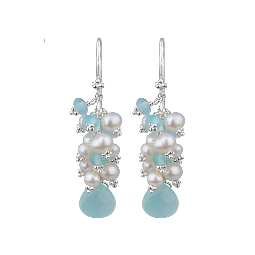 JD E64421 CHALCEDONY AND PEARL DROP EARRINGS